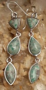 "Designer Fine Silver Bronze Turquoise 2.5"" Dangle Earrings Signed Barse Thailand"