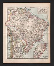 Landkarte map 1895: BRASILIEN, BOLIVIEN, PARAGUAY, URUGUAY, SURINAM