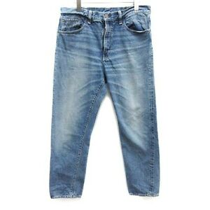 Warehouse Denim Pants Jeans Zip Fly Washed Straight W34 Blue /Yt Mens