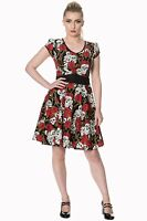 Women's Gothic Skull Roses And Thorns Classic Retro Rockabilly Flared Dress Goth