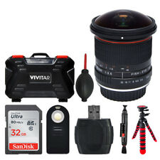 Vivitar 8mm f/3.5 Fisheye Lens For Canon Top Value Bundle Kit Memory Card Case