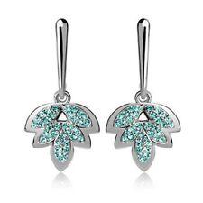 Ocean Blue Crystals Maple Leaf Drop Silvertone Fashion Earrings
