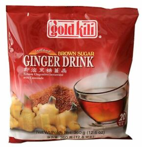 1 Pack of Gold Kili Instant Chinese Brown Sugar Ginger Tea Drink 20x18g Sachets