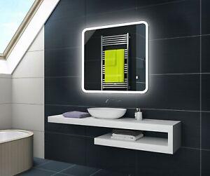 Badspiegel mit LED Beleuchtung Wandspiegel L59 mit Touch & Sensor Schalter