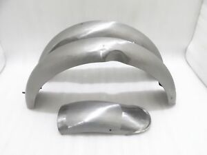NORTON MODEL 18 FRONT AND REAR MUDGUARD SET RAW STEEL (REPRODUCTION)