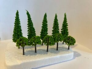 x10 Mixed Green Model Trees 1/100 OO Scale Landscape, Building, Scenery, Layout.