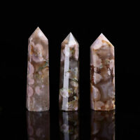 Natural Flower Agate Tower Cherry Blossom Crystal Point Wand Reiki Healing Stone