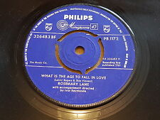 Rosemary Lane, What Is The Age To Fall In Love, 1961, Philips, PB.1172, Jazz EX+