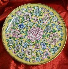 "VTG Round 8"" Enamel on Copper Plate Yellow, Pink & blue Floral Design"