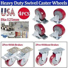 4xheavy Duty 125mm Swivel Caster Wheels Castor Trolley Furniture Caster 2 Brakes