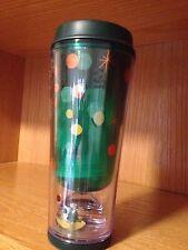 Starbucks Christmas green travel tumbler w/ Floating Mini Coffee Cup & Tree 10oz