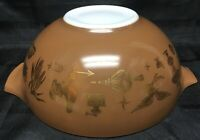 VTG Pyrex Brown Gold Early American Print Mixing Bowl Ovenware 4 Quart 444