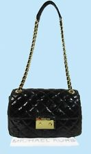MICHAEL KORS SLOAN Black Python Embossed Quilted Leather Shoulder Bag Msrp$298