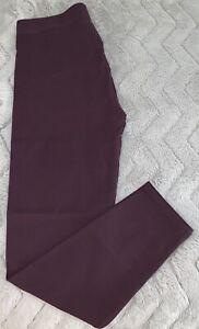 Ann Taylor maroon burgundy soft knit stretch waist leggings Size Large cotton