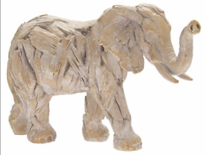 Elephant driftwood resin animal art sculpture ornament big wild gift present