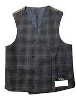 Lauren by Ralph Lauren Mens Suit Vest Gray Medium M Plaid Double-Breast $125