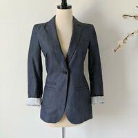 BANANA REPUBLIC Suit Jacket Heathered Blue Blazer Coat Career Womens Size 0 XS