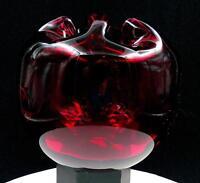 "MURANO ART GLASS RUFFLED RIM RUBY RED THUMBPRINT 6 1/2"" ROSE BOWL ORIG STICKER"