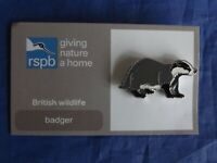 RSPB GNaH badger metal pin badge on FR card