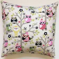 Throw Pillow Sham/Cover for 18x18 Insert OWLS Sit'n In A Tree Pink/Green/Gray
