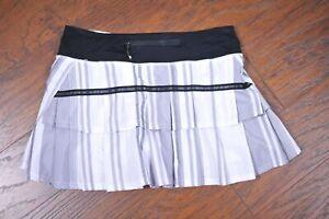 Lululemon Run: Pace Setter Skirt Groovy Stripe Nimbus Black Women's 4