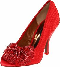 POETIC LICENCE SPECTACLE SHOES 6 OR 8.5 SEXY RED FABRIC JEWEL BOW PRINCESS OZ