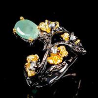Vintage Natural Emerald 925 Sterling Silver Ring Size 6/R124614