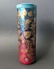 Starbucks Fall 2020 Hot Blue/Purple Roses 16oz Vacuum Insulated Tumbler 16 oz