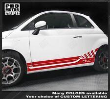 Fiat 500 Checkered Rocker Side Stripes 2007 2008 2009 2010 2011 2012 2013 2014