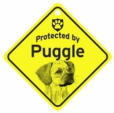 Protected by Puggle  Dog Car Window Sign