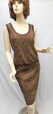 St John Knit NWT  EVENING Brown Shimmer Bronze Gold Shell Skirt SUIT SZ 8