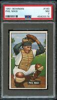 1951 Bowman BB Card #160 Phil Masi Chicago White Sox PSA NM 7 !!!
