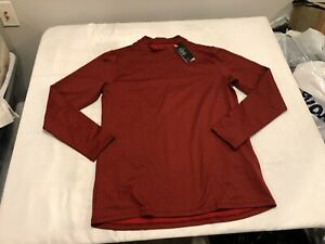 NWT $55.00 Under Armour Mens Coldgear Armour Fitted Mock LS Shirt Red Size XL