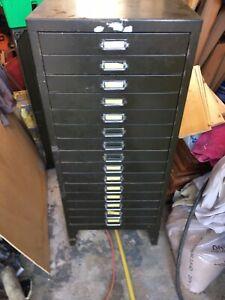 VINTAGE INDUSTRIAL METAL FILING CABINET DRAWER CABINET STORAGE OFFICE