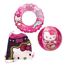 INTEX HELLO KITTY Sanrio Sling Bag + Inflatable Swim Ring Tube + Pool Beach Ball