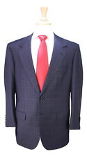New! * BRIONI * Recent Custom Navy Blue Tone Plaid 2-Btn Handmade Wool Suit 40R