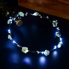 Wedding Party Crown Flower Headband LED Light Up Hair Wreath Hairband Garlands