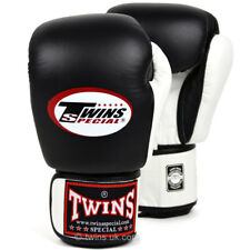 Twins Special Boxing Gloves 2Tone Black White Muay Thai Sparring Kickboxing 16OZ