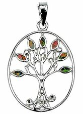 """Womens Sterling Silver Fire Opal Tree Of Life Pendant & 18"""" Chain"""