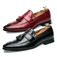 Men's Dress Shoes Comfort Slip On Driving Loafers Tassel Pointed Toe Flat Shoes