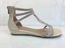 LADIES WOMENS ANKLE HIGH BEIGE LEATHER FAUX WEDGE HEEL DIAMANTE SANDALS SIZE 4