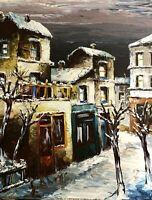 Expressionnisme Menilmontant Judaica Paris neige Peinture signée Schwartz Abrys