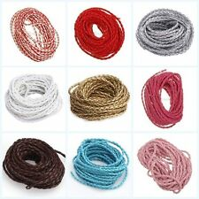 Leather Cord Brided for Necklace Bracelet Thread Rope 10 COLORS 3mm 5 to 25 feet