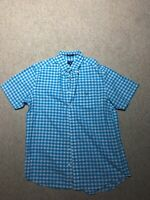 New Gant Blue / White Check Shirt Regular Fit Large 41/42 16.5 Inch cotton