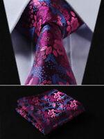 Mens Tie Pink Blue Fuschia Woven Ties Necktie Wedding Silk Paisley Floral Hanky
