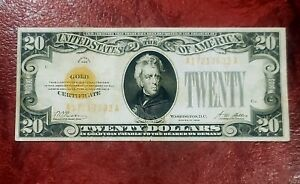 1928 $20 GOLD CERTIFICATE ~ NICE BRIGHT VERY FINE - EXTREMELY FINE NOTE