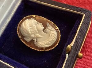 18ct Gold Cameo Fine Shell Brooch / Pendent  750 Hallmark