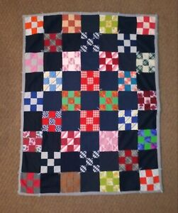 Handmade Crazy Patchwork Quilt Baby Infant Size Small Quilted Crib Blanket