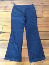 Ann Taylor Curvy Boot Cut Flare Dark Wash Flat Front Trousers Jeans Pants 8