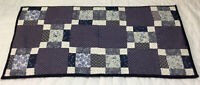 Vintage Patchwork Quilt Table Topper, Runner, Nine Patch, Navy Blue Calico Print